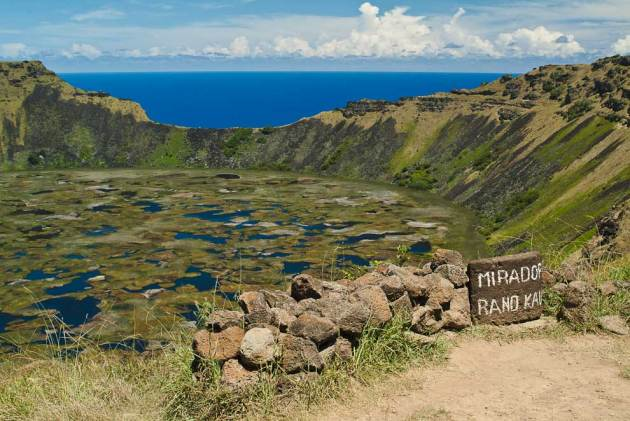 Rano Kau - Volcano lake is island's largest fresh water supply