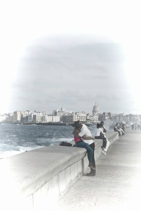 Lovers on the malecon ,Havana